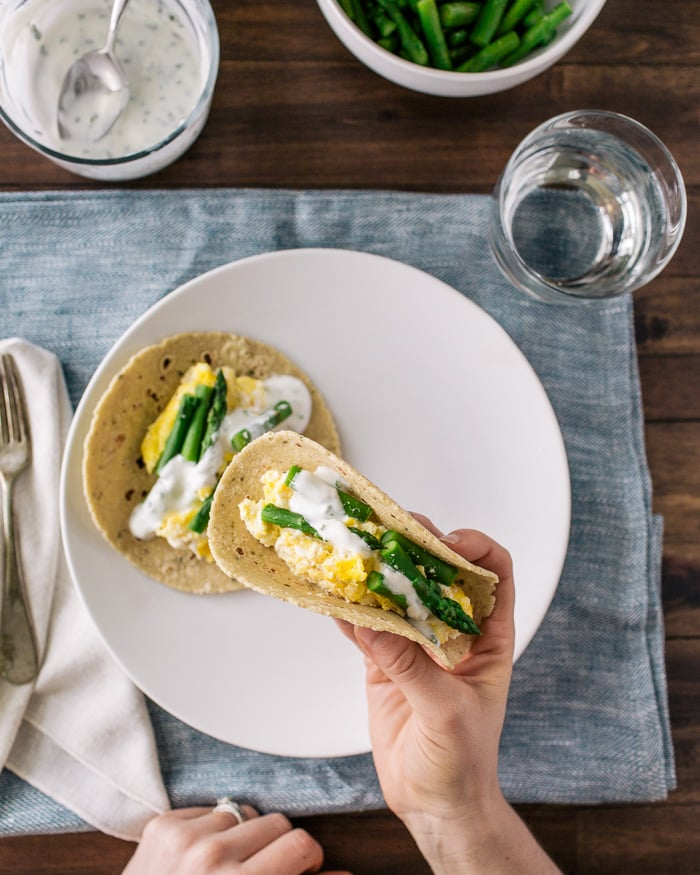 Ricotta Scrambled Egg and Asparagus Tacos.