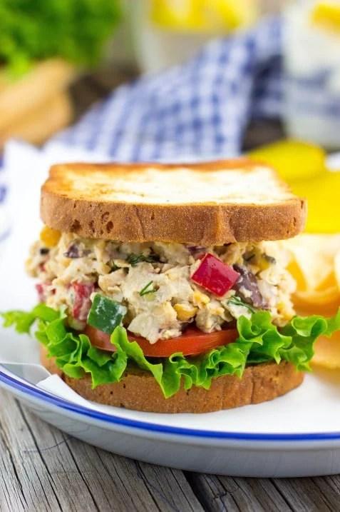 Greek Chickpea Salad Sandwiches Healthy Summer recipe