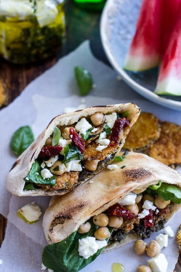 Greek olive pesto and fried zucchini grilled pitas with marinated feta and garbanzo beans.