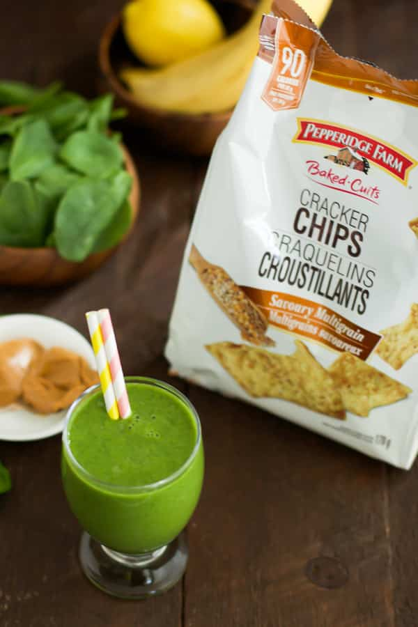 Peanut Butter Green Smoothie with Pepperidge Farm Cracker Chips-2