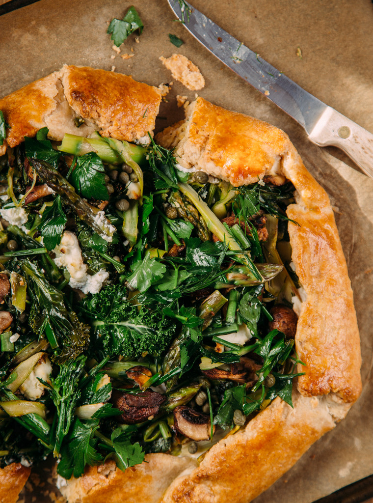 A close up of a spring galette.