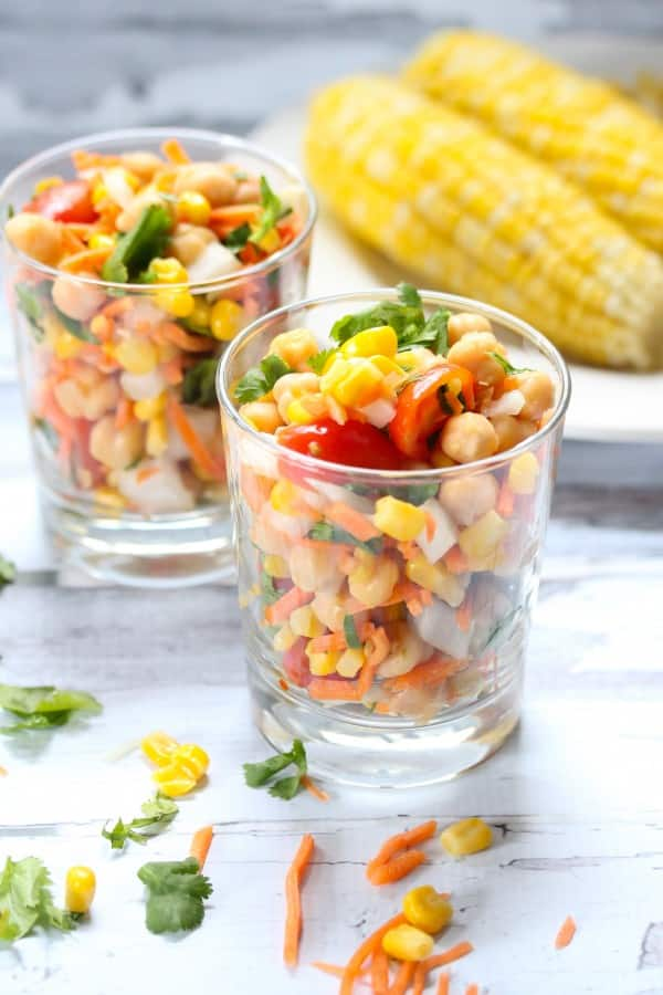 Two cups of sweet corn salad.