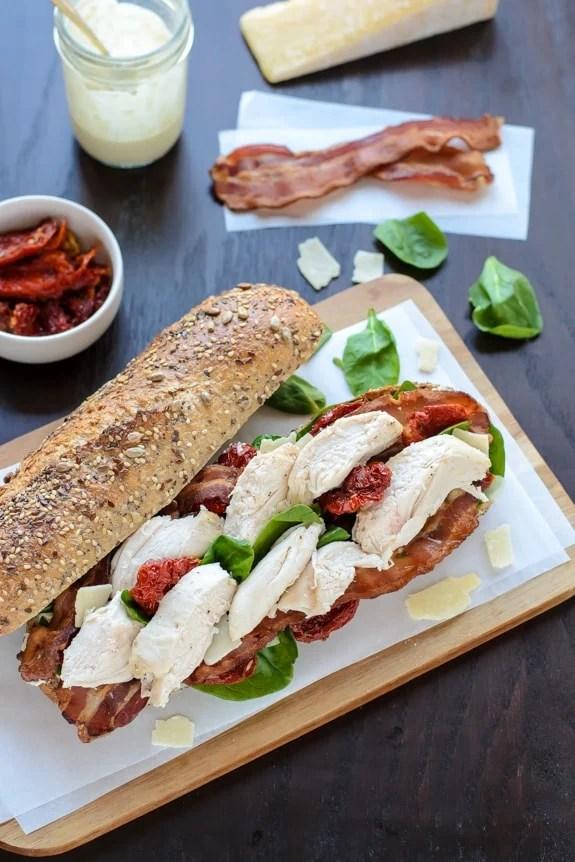 Chicken Caesar Sandwich with Bacon.
