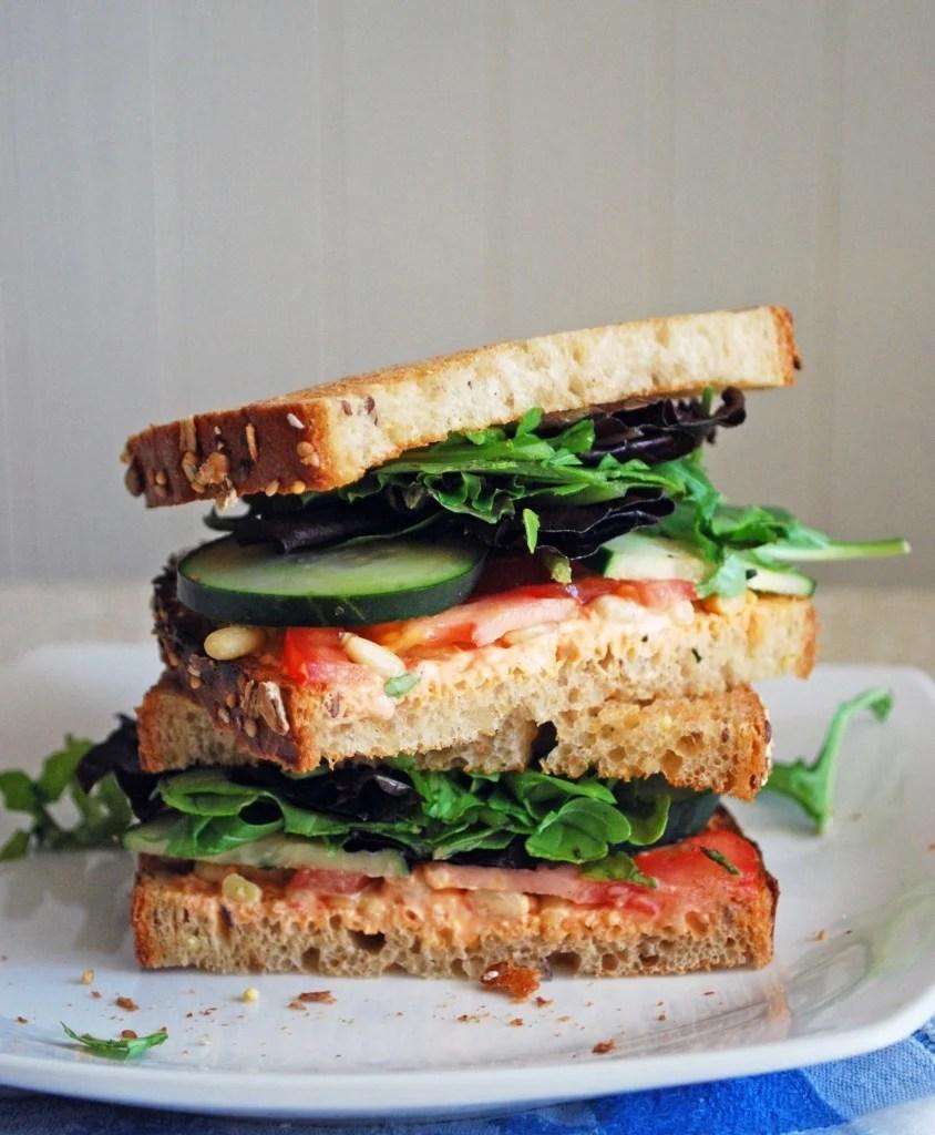 Goat Cheese and Veggie Sandwich.