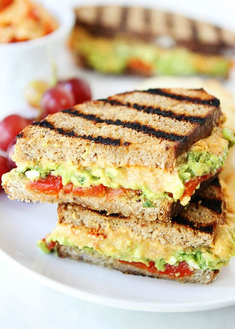 Grilled Roasted Red Pepper Hummus Avocado Feta Sandwich