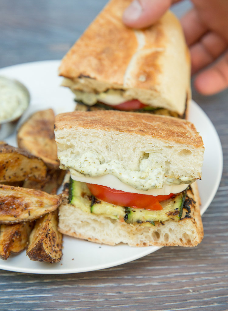 Grilled zucchini caprese sandwiches with pesto mayo