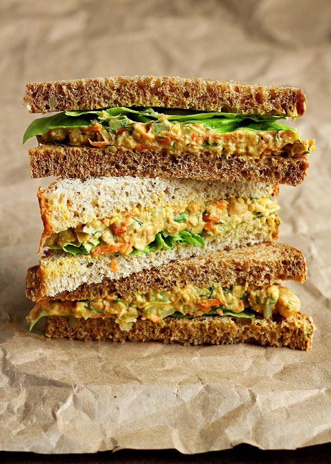Lentil Chickpea Salad Sandwiches.
