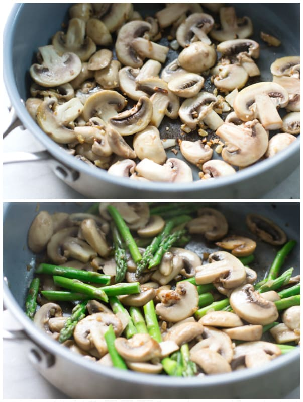 Step by step instructional photos showing the mushrooms in a pan and then asparagus added in.