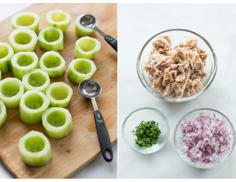 Instructional photos of cucumbers being hollowed out and the ingredients in three prep bowls.