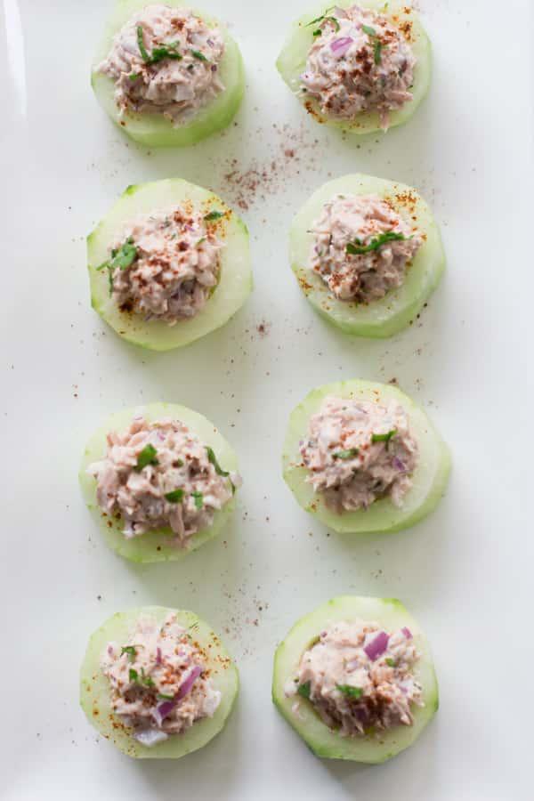 Overhead photo of tuna cucumber cups.