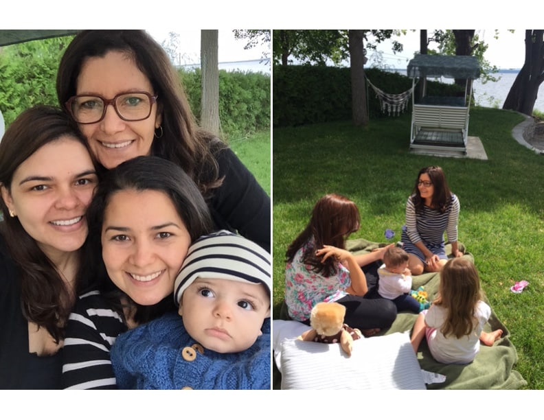 Images of Olivia and family taking a selfie and sitting outside.
