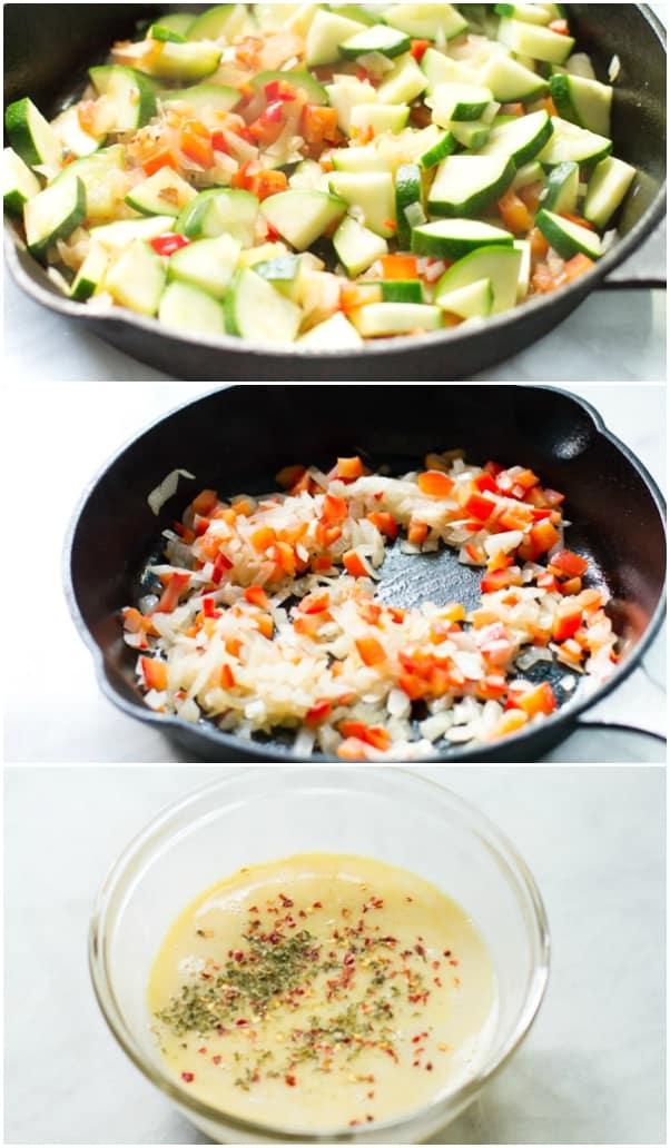 Zucchini Red Bell Pepper Frittata Primavera Kitchen Recipe