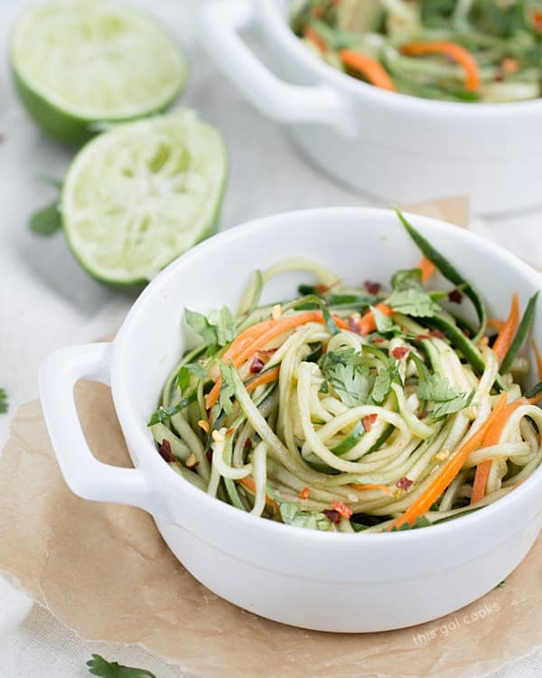 Cucumber Carrot Noodles with Sesame Soy Dressing recipes Primavera Kitchen