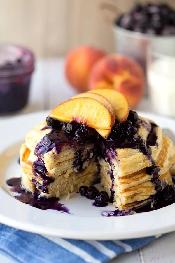 Greek Yogurt Pancakes with a Blueberry-Peach Syrup.