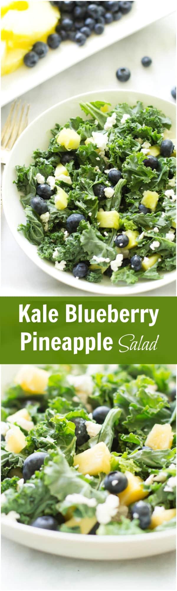 Kale Blueberry Pineapple Salad - Kale blueberry pineapple salad is sweet, tart, and full of vitamins.