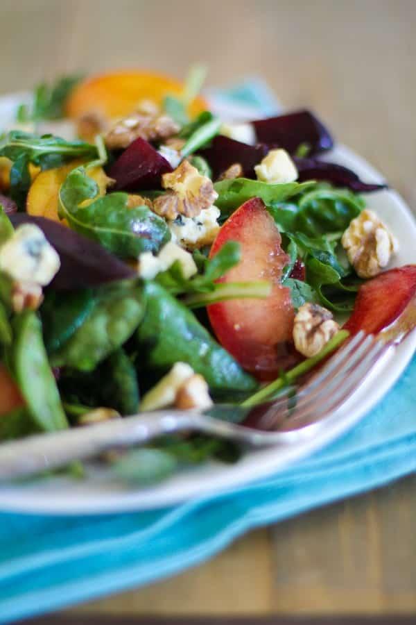 Roasted Beet and Peach Salad.