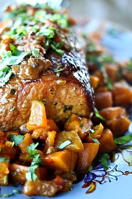 Slow Cooker Peach Salsa Pork Roast with Sweet Potatoes.