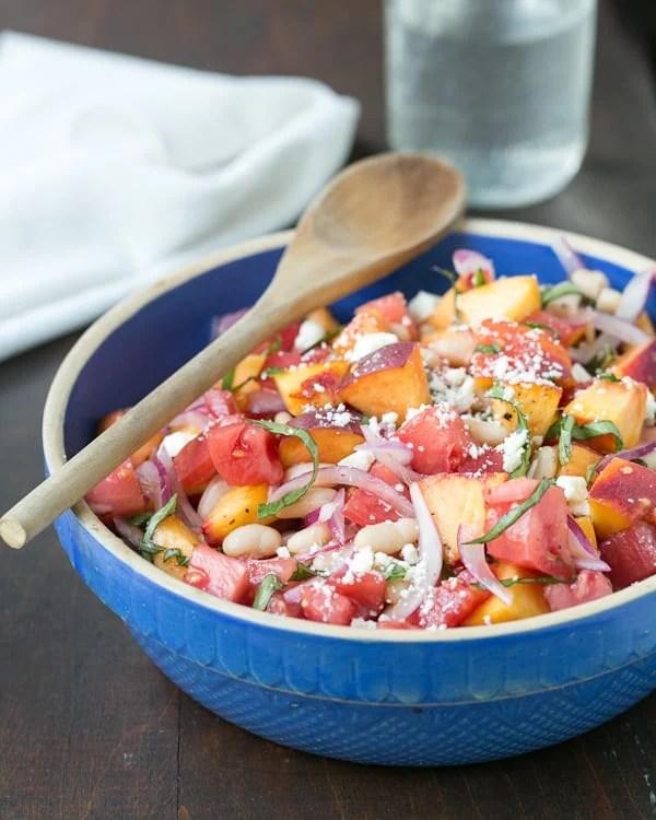 Peach, Tomato and Basil Summer Salad.