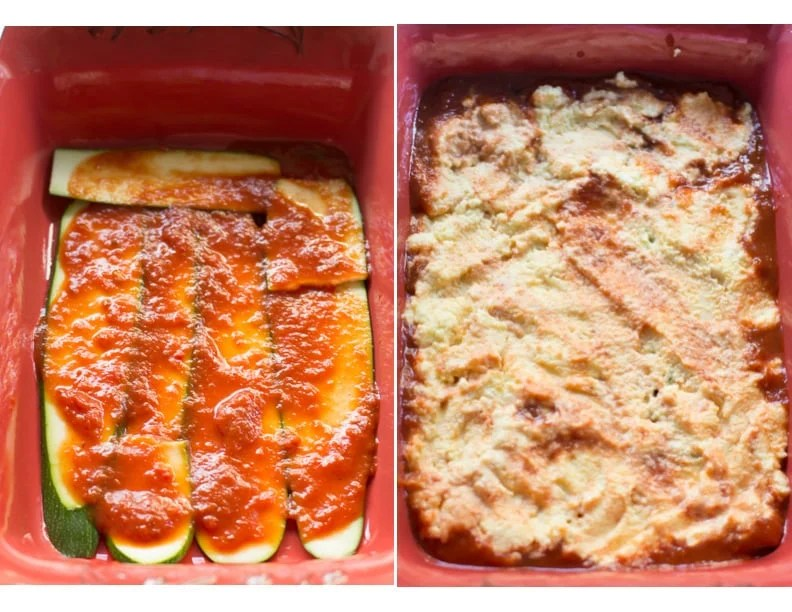 Set of two photos showing zucchini slices with sauce and then covered with the ricotta mixture.