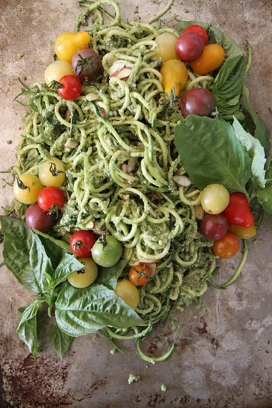 Zuchinni Noodles with Basil Almond Pesto and Cherry Tomatoes recipes Primavera Kitchen