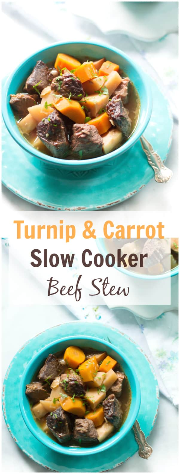 This is the perfect time of the year to load yourself up on hearty comfort foods like this delicious and healthy Turnip and Carrot Slow Cooker Beef Stew.