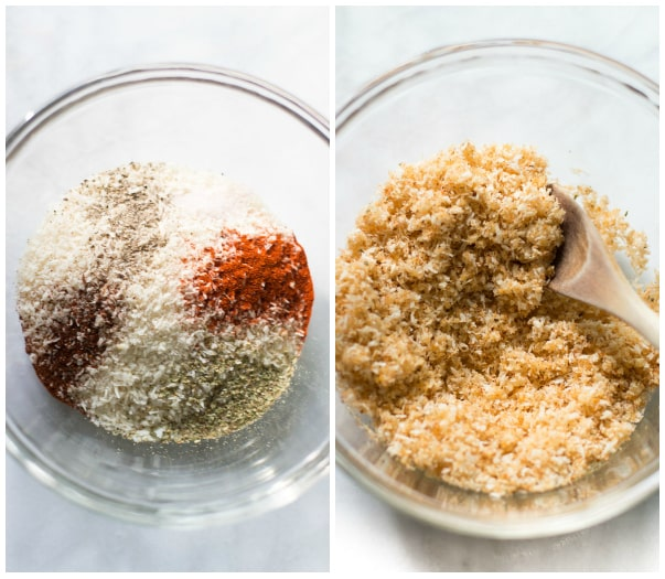 Set of two photos showing seasoning mixed together and then with panko.