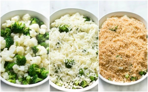 A set of three photos showing cauliflower and broccoli added to a casserole dish, topped with cheese, and then the seasoned panko mix.