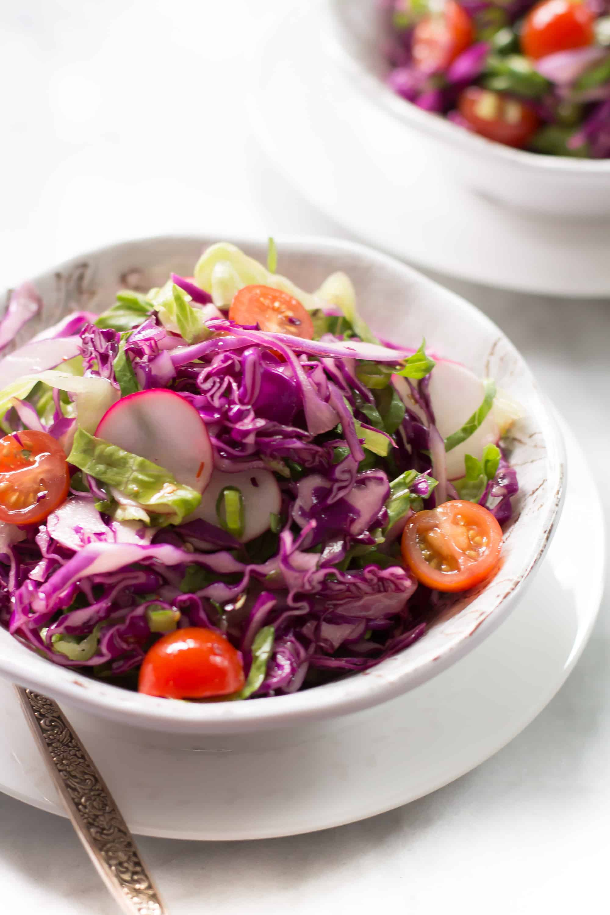 A bowl of easy quick red cabbage salad.