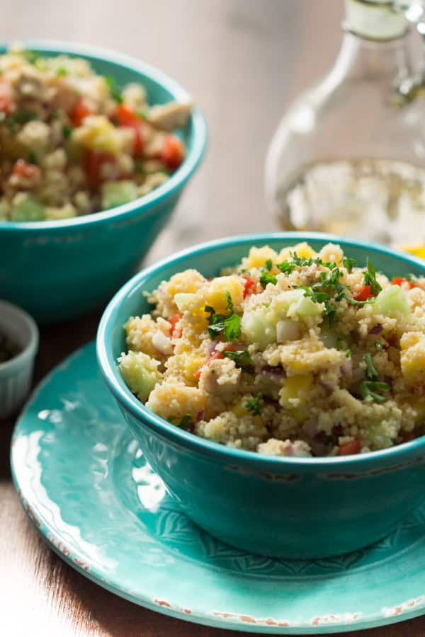 Chicken and Mango Couscous Salad - Make this Chicken and Mango Couscous Salad and you will have a super delicious, healthy and flavourful meal for lunch or dinner.