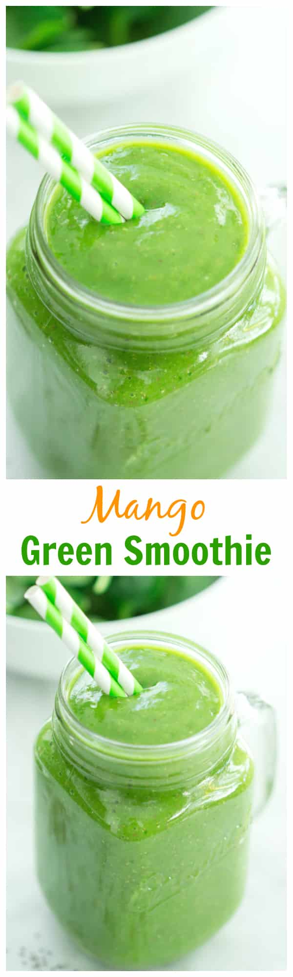 Mango Green Smoothie - This is the fastest way to get more greens in your diet. Make this delicious Mango Green Smoothie and start your day right.