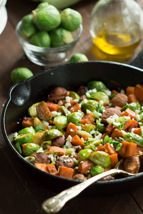 Turkey Sausage Skillet with Brussels Sprouts and Sweet Potatoes 10 One-Pan Gluten-free Dinner Recipes Under 30 Minutes Primavera Kitchen Recipes