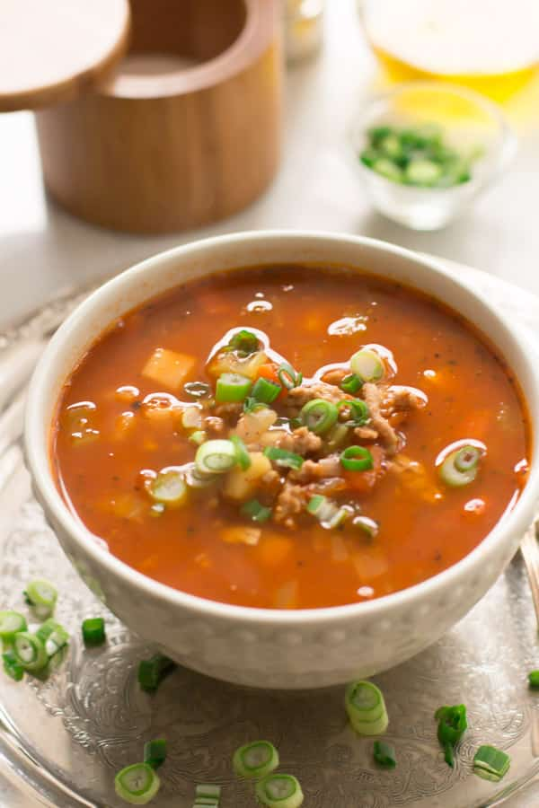 Ground Turkey Soup with Veggie Roots - This Ground Turkey Soup with Veggie Roots is made with carrots, parsnip and extra-lean ground turkey. This warming and nutritious soup is also great to freeze. Enjoy!
