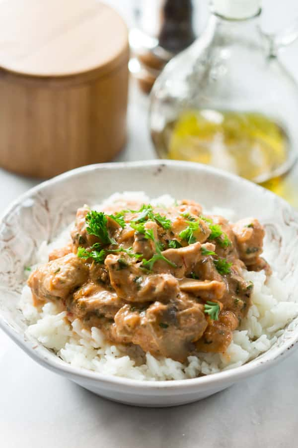 Healthy Chicken Stroganoff Primavera kitchen recipe