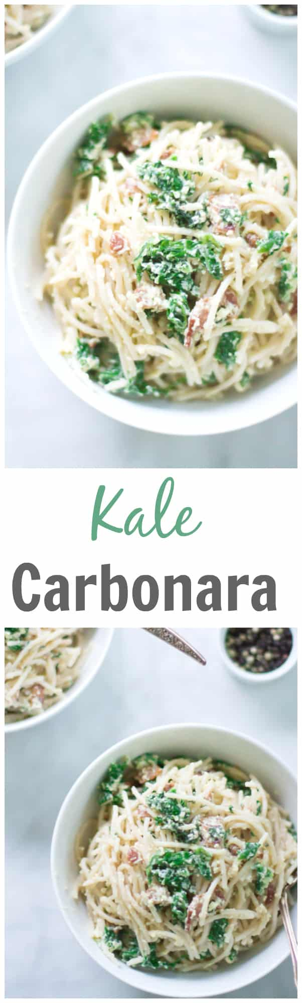Kale Carbonara - Make this classic Italian Carbonara recipe packed with eggs, cheese, bacon and kale. This is definitely a super easy, quick and rich recipe for dinner.