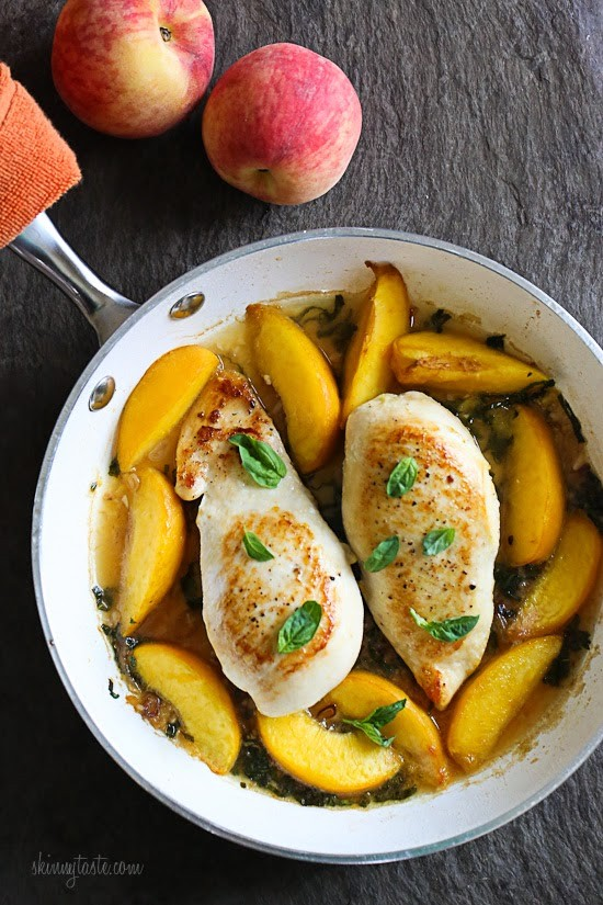 Skillet Basil-Peach Chicken Breasts from Skinny Taste.