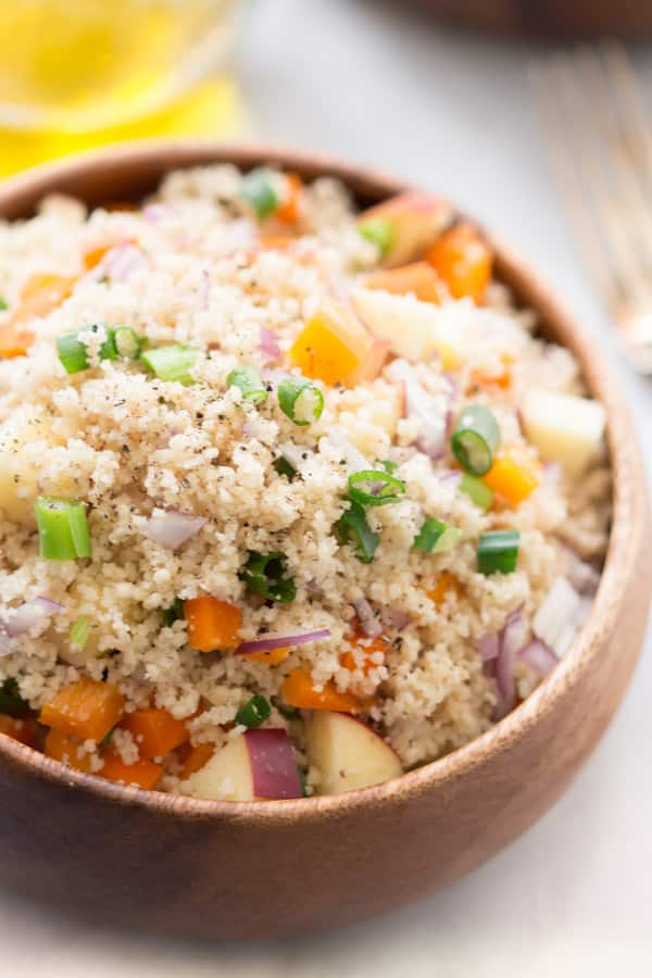 Easy Couscous Salad - This easy couscous salad can be served hot or cold, with any assortment of fruits and vegetables. Lunch just got awesome.