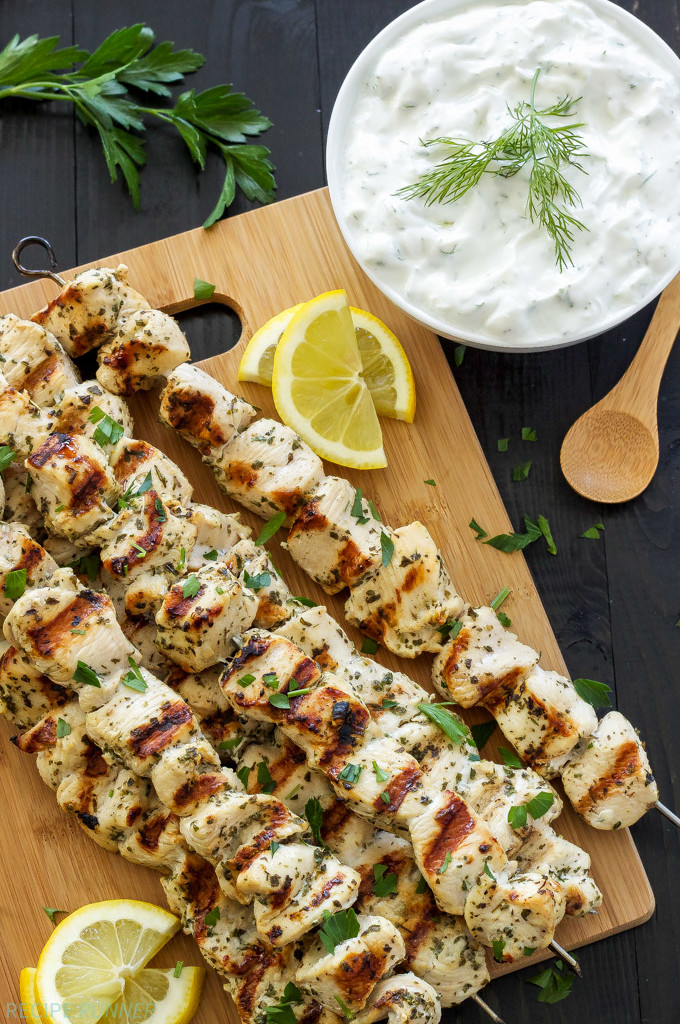 Greek Lemon Chicken Skewers With Tzatziki Sauce from Recipe Runner.
