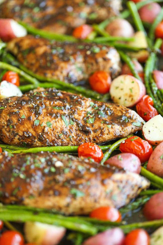 Honey Balsamic Chicken Breasts and Veggies from Damn Delicious.