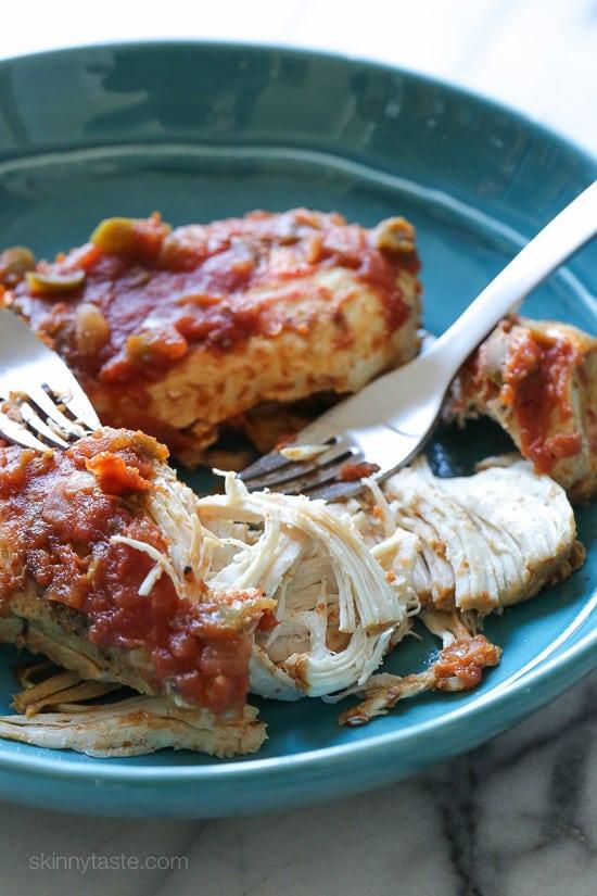 Instant Pot (Pressure Cooker) Easy Salsa Shredded Chicken from Skinny Taste.