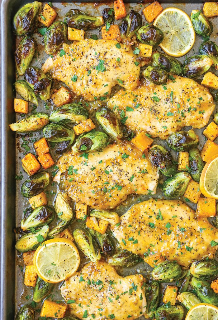 One pan Lemon Chicken With Butternut Squash and Brussels Sprouts from Damn Delicious.
