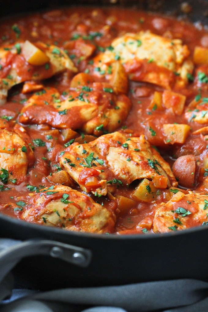 One-Pot Curry Tomato Chicken & Potatoes from Cookin Canuck.