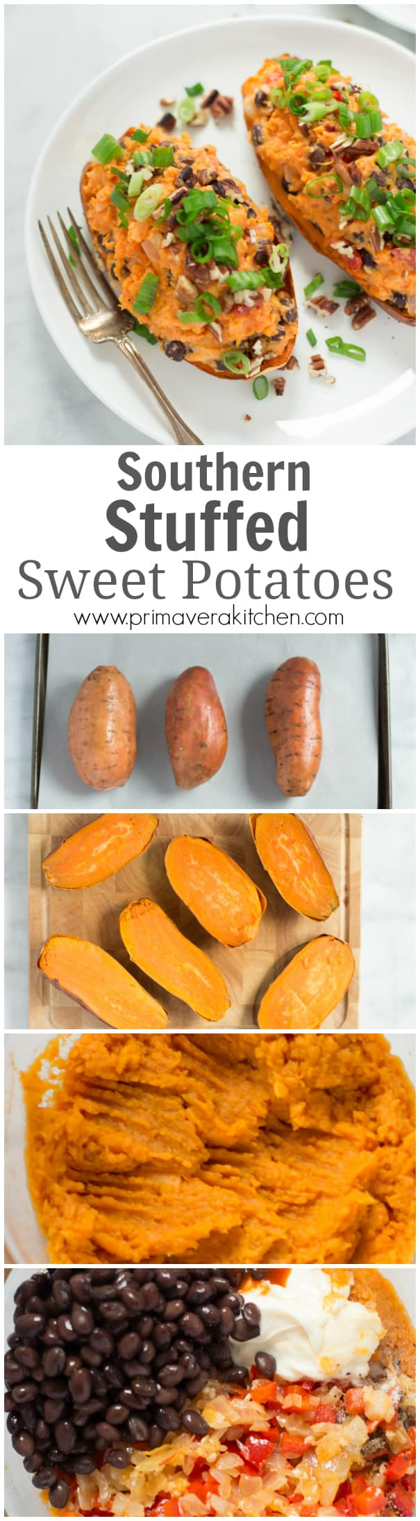 Southern Stuffed Sweet Potatoes - These Southern Stuffed Sweet Potatoes are loaded with onions, red pepper, black beans, hot sauce and garlic. This is a delicious gluten-free and vegetarian dish that is perfect for lunch or a light dinner.