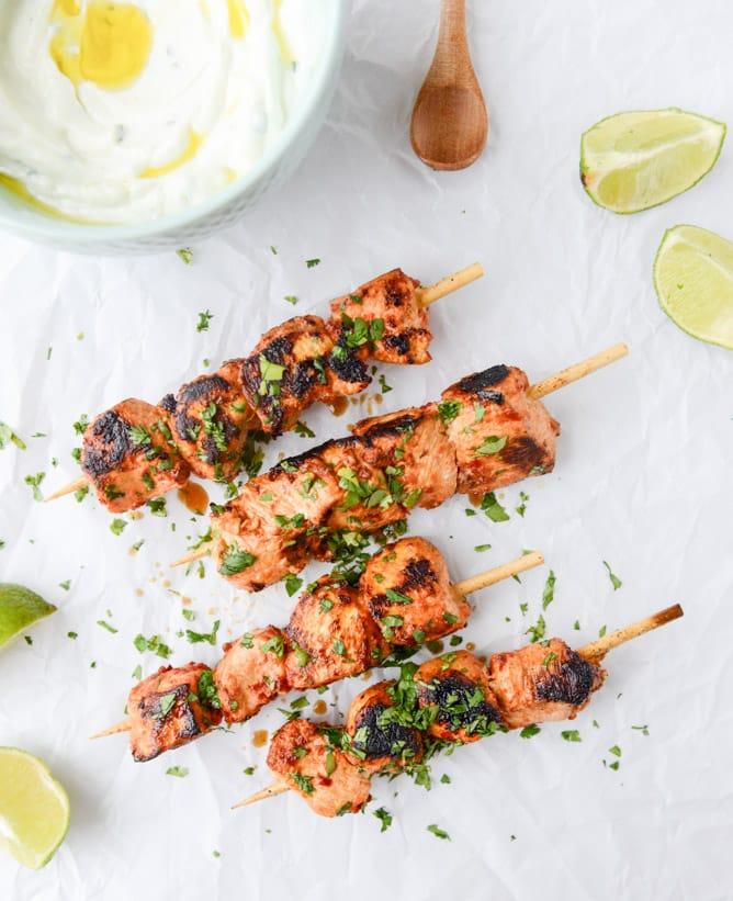 Chili Garlic Chicken Skewers with Greek Yogurt Dip from How Sweet Eats.