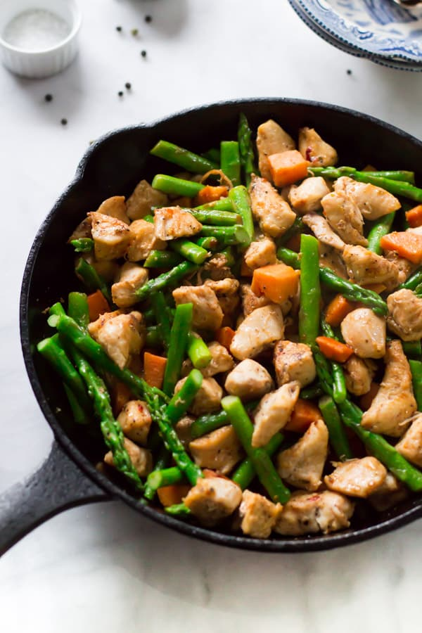 Asparagus Sweet Potato Chicken Skillet Primavera Kitchen Recipe