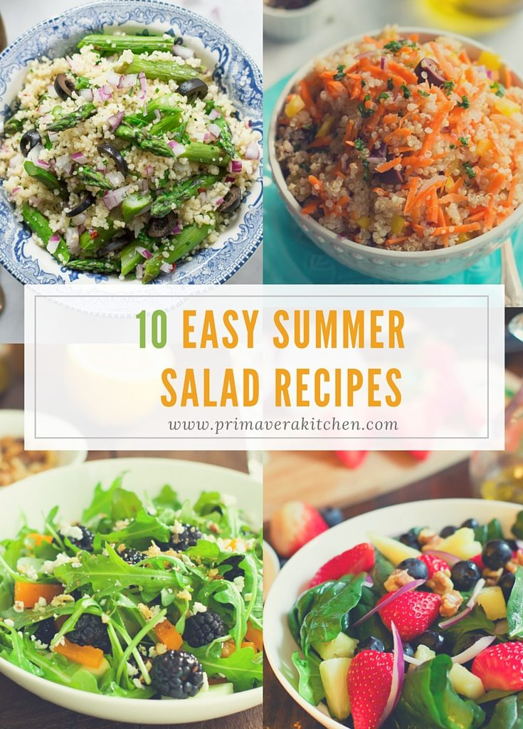 10 Easy Summer Salad Recipes - These 10 Easy Summer Salad Recipes are perfect for summer parties, picnics and barbecues. They are super easy to make, fresh, flavourful, colourful and healthy. They are also all go-to recipes for summer meals.