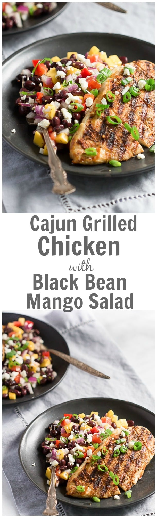 This easy Cajun Grilled Chicken with Black Bean Mango Salad recipe is made with homemade Cajun seasoning and a little olive oil. It is super easy to make, flavourful and great for your BBQ party.