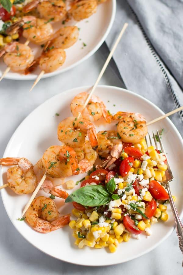 Shrimp Skewers with Corn Salad