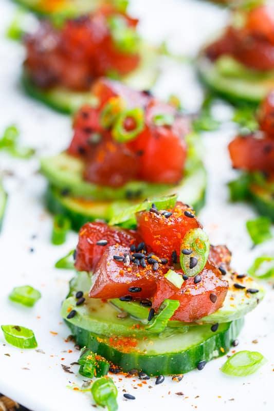 Spicy Tuna and Avocado Cucumber Sushi 800 0744