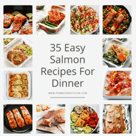 titled photo collage (and shown): 35 easy salmon recipes for dinner