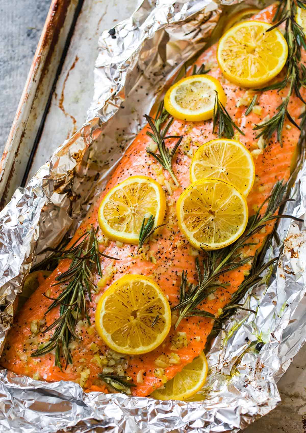 salmon with lemon and rosemary in foil